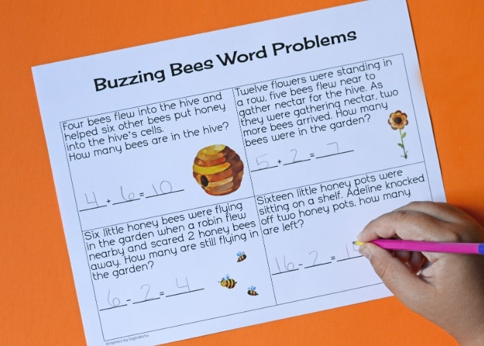 Buzzing Bees math word problems worksheet.