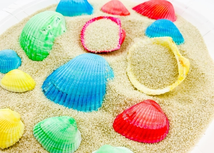 rainbow dyed seashells in sand