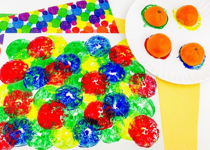 Orange painting activity for kids.