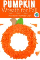 Pumpkin wreath for fall kid's craft.