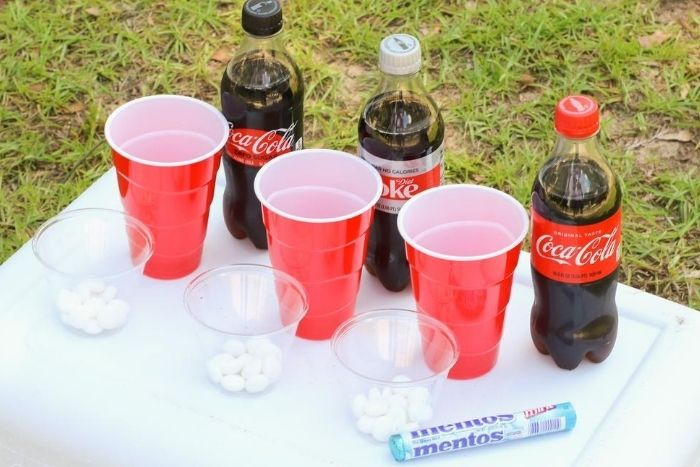 Mentos and soda science experiment for kids.