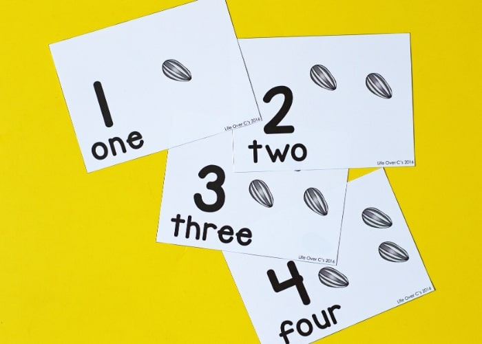 Counting cards using sunflower seeds numbers 1-4 on a yellow background.