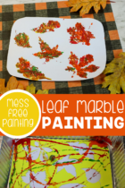 Fall themed painting with marbles for preschoolers.
