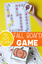 Printable board game for preschoolers with a fall theme.