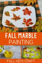 Marble painting activity for preschoolers with a fall theme.