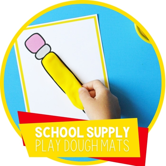 School Supply Play Dough Mats for Preschool