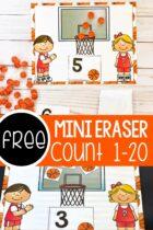 Free mini basketball eraser counting mats.