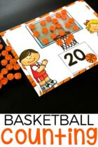 Basketball counting mats for numbers 1-20.