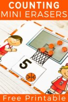 Basketball mini erasers counting mats.