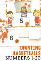 Printable counting mats with a basketball theme.