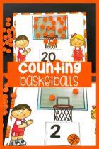 Printable counting mats with basketballs.