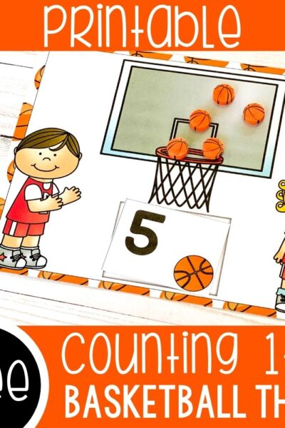 Printable counting mats with a basketball theme.