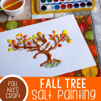 Fall tree salt painting for kids.