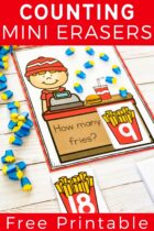 Counting with french fry mini erasers.