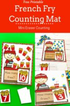 Free printable counting mats with a french fry theme.