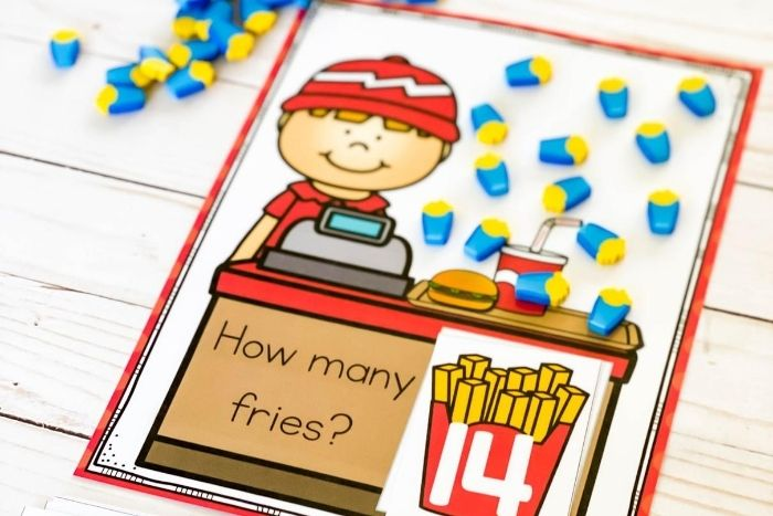 French fry counting mats printable.