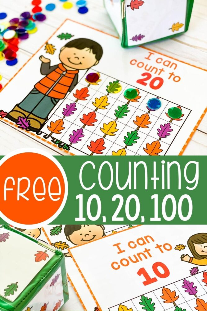 Free counting grid cards for 10, 20 and 100.