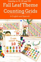 Fall leaf theme counting grids in English and Spanish.