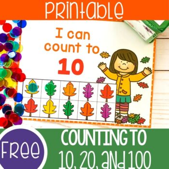 Printable fall leaves counting games for 10, 20 and 100.