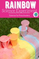 Rainbow science experiment with soda and mentos.