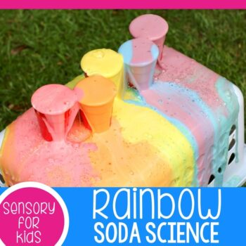 Rainbow Soda and Mentos science experiment square image.
