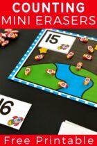 Rocket ship themed counting mats printable.
