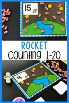 Counting Mats printable with a rocket ship theme.