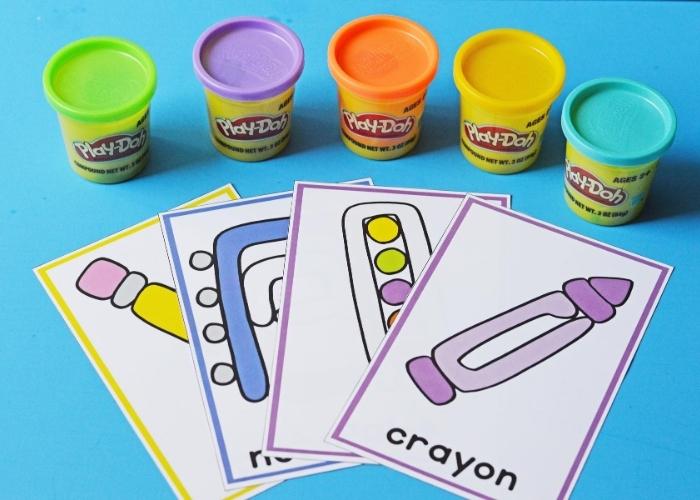 Play dough mats printable for color matching.
