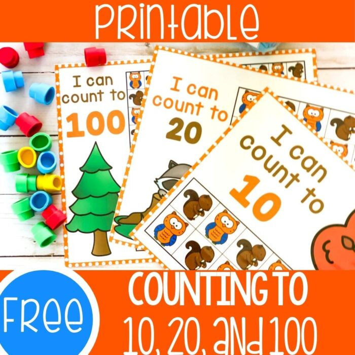 Free Printable Fall Counting Grids for 10, 20 and 100
