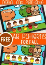 AB Patterns for preschoolers using acorns.