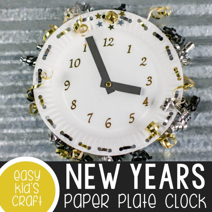 New Years Eve Paper Plate Clock Craft Featured Image
