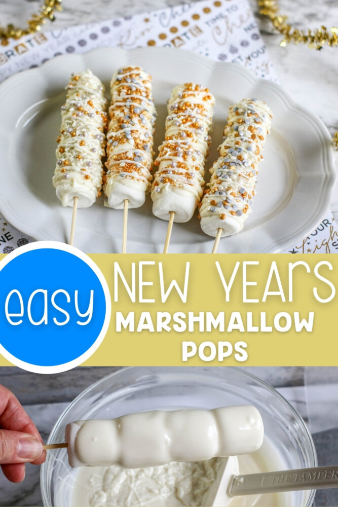 Easy New Years Marshmallow Pops