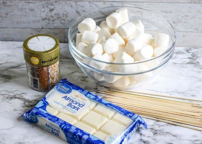 Overhead picture of the ingredients for New Years Marshmallow Pops