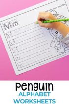 Penguin Theme Preschool Alphabet Worksheets Free Printable Pinterest image.