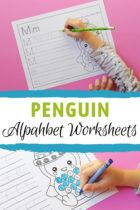 Free Printable Penguin Theme Preschool Alphabet Worksheets Pinterest image.