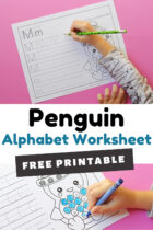 Preschool Penguin Alphabet Worksheets Pinterest image.