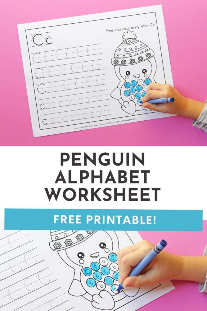 Penguin Theme Alphabet Worksheets Pinterest image.
