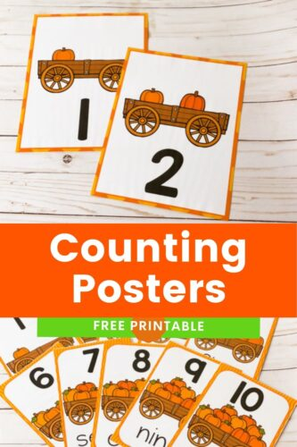 Teach little learners to count with these printable pumpkin theme counting posters. They come in two sizes to fit all spaces!