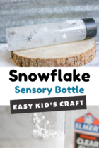 Snow sensory bottle craft for kids.