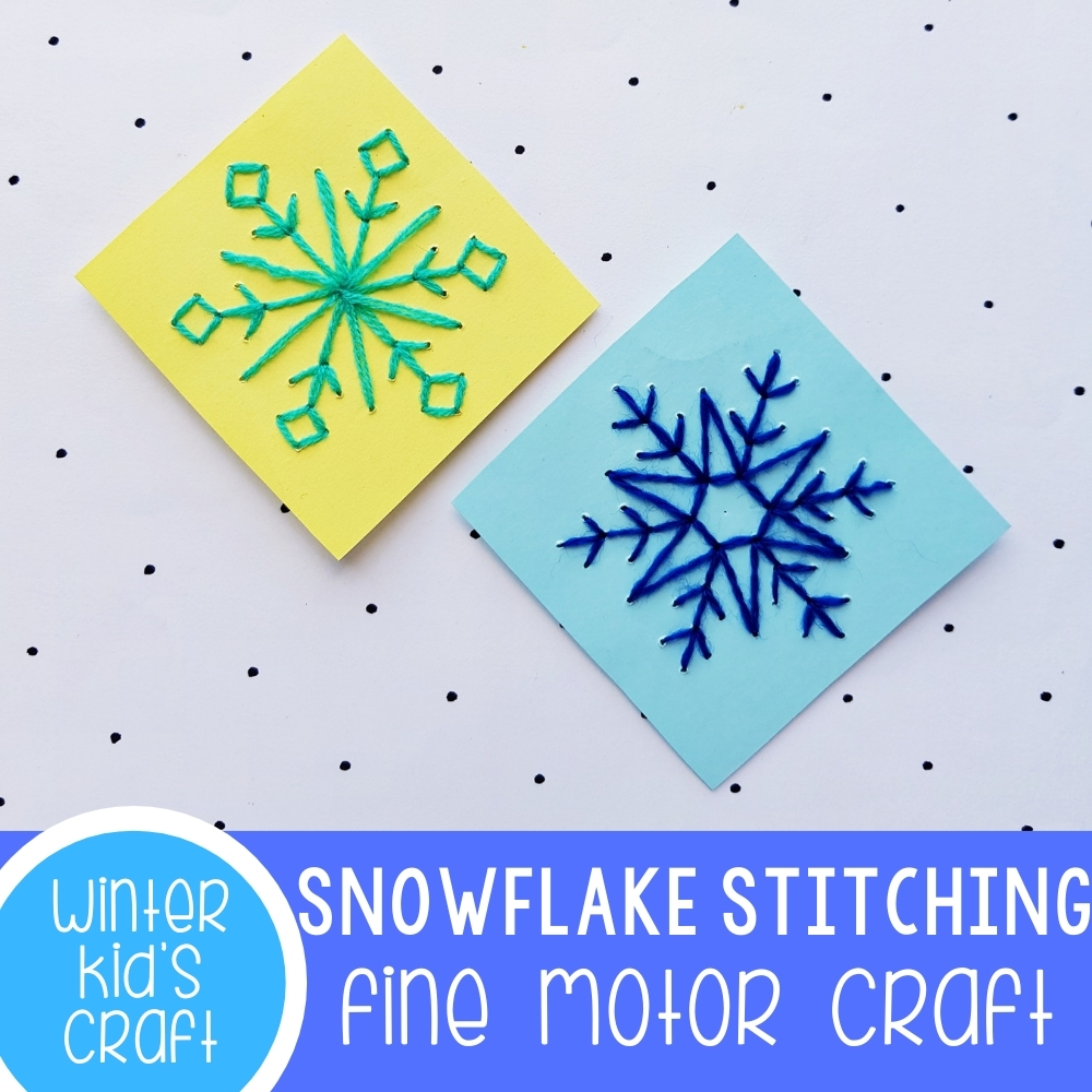 Snowflake Stitching Fine Motor Craft Featured Square Image