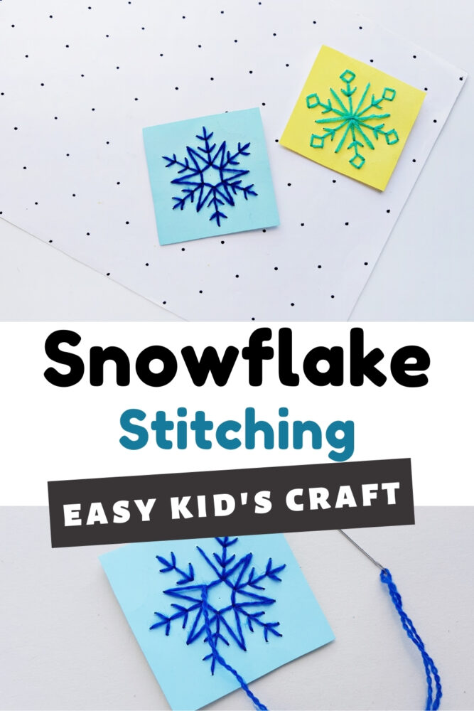 Snowflake Stitching Fine Motor Easy Kid's Craft
