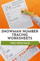Snowman Number Tracing Worksheets Pinterest image.