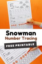 Free Printable Snowman Number Tracing Worksheets Pinterest image.