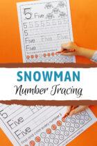 Snowman Number Tracing Preschool Worksheets Pinterest image.