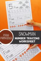 Snowman Number Tracing Free Printable Worksheets Pinterest image.