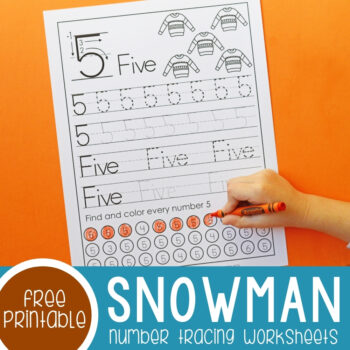 Snowman Number Tracing Worksheets featured image.