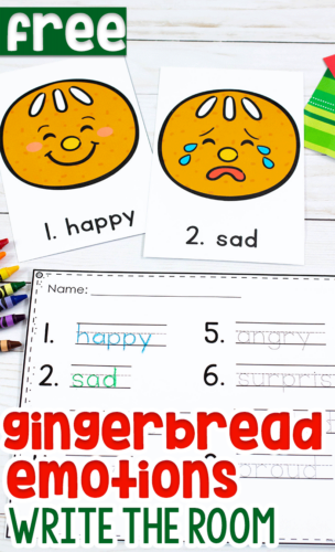 Write the Room Gingerbread Emotions Activity