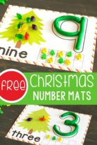 Printable Christmas Tree Play Dough Number Mats