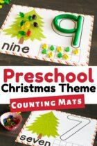Printable preschool Christmas number mats.