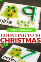 Counting to 10 number mats with a Christmas theme.